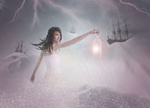 """My first big photo editing project of the year. I stood outside in -30 in a sundress for this! Concept: """"Let me be your lighthouse"""". Click the image for the concept and the story behind this idea."""